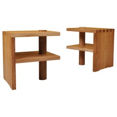 Pair of Handcrafted Architectural Oak Stools
