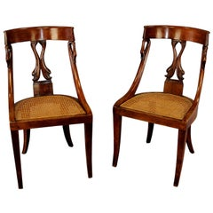Pair of Handcrafted Biedermeier Chairs with Swan and Dolphin Backrest