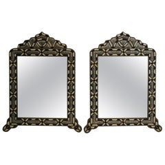 Pair of Handcrafted Bone Inlay Arched Moroccan Mirrors