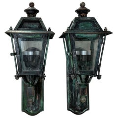 Pair of Handcrafted Brass Wall Hanging Lanterns