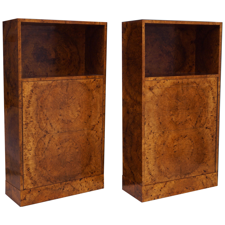 Pair of Handcrafted Danish 1930s Birch Root Veneered Cabinets
