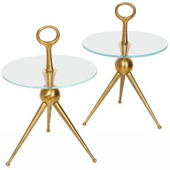 Pair of Handcrafted Solid Bronze and Glass Tripod Martini Side Tables, Italy