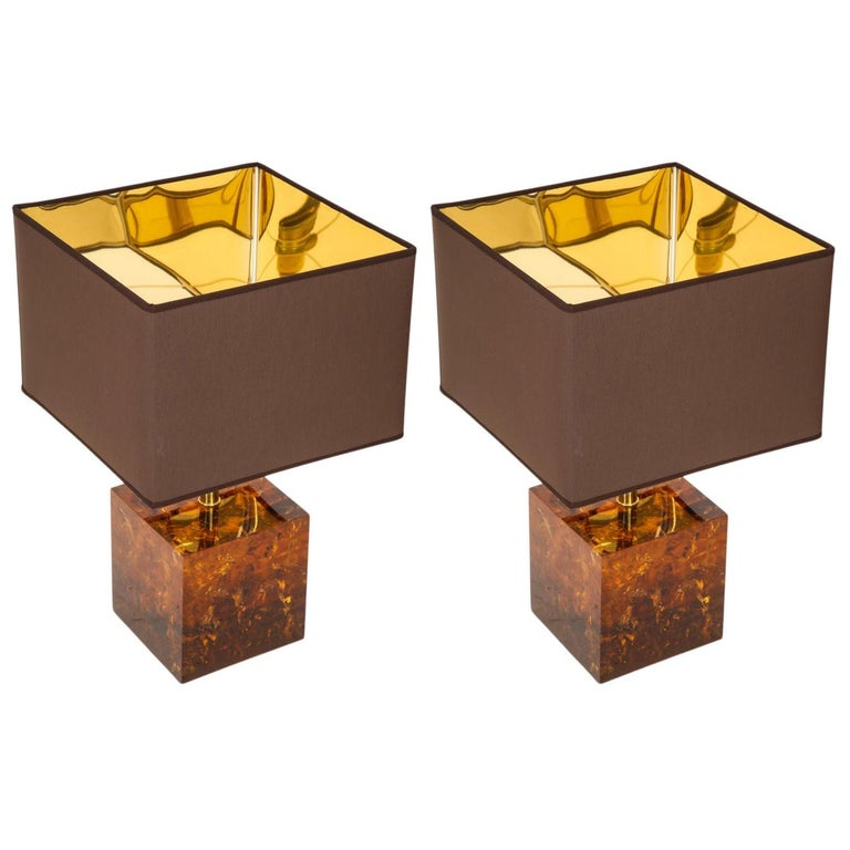 Pair of Handcrafted Tortoise Shell Style Cube Fractal Resin Bronze Lamps, Italy For Sale