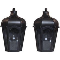 Pair of Handcrafted Wall-Mounted Brass Lantern