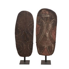 Pair of Handcrafted War Shields from Papua New Guinea on Custom Stands