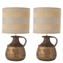 French provincial table lamps 49 for sale at 1stdibs pair of handle vase shaped terracotta table lamps aloadofball Image collections