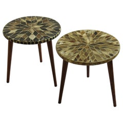 Pair of Handmade Bespoke Mosaic 1960s Vintage Circular Tables Horn Inlaid Tops