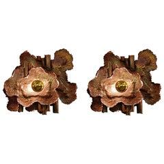 Pair of Handmade Brass Mid-Century Modern Brutalist Style Sconces, Italy, 1970s