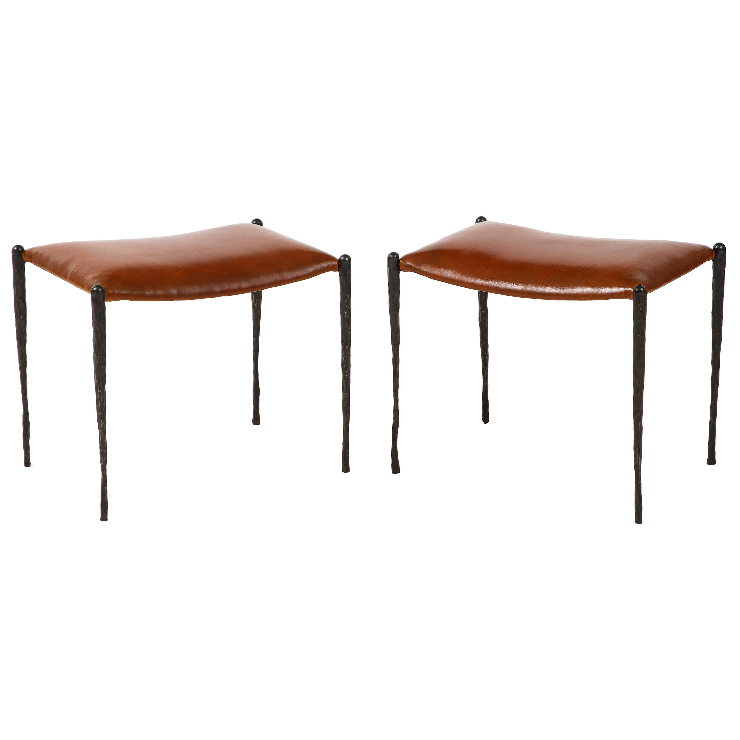Pair of Handmade Bronze Benches with Leather Seats