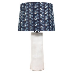 Pair of Handmade Ceramic Lamps with Blue Shades