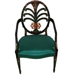 Pair of Handmade Design Chairs with Green Velvet
