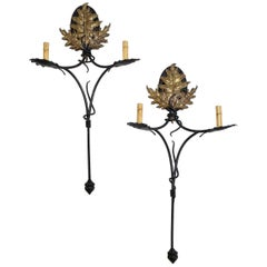 Pair of Handmade Iron and Bronze Sconces