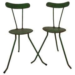Pair of Handmade Metal Chairs, 1950s, from the Balaton Lake Region, Hungary