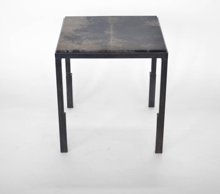 American Pair of Handmade Modern Geometric Blackened Steel and Parchment Side/End Table  For Sale