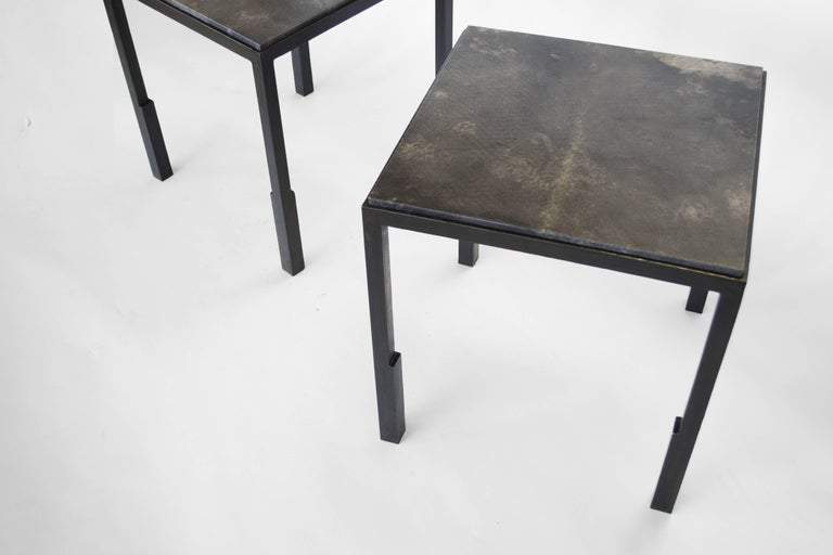 Carved Pair of Handmade Modern Geometric Blackened Steel and Parchment Side/End Table  For Sale