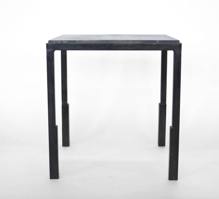 Pair of Handmade Modern Geometric Blackened Steel and Parchment Side/End Table  In New Condition For Sale In Bronx, NY