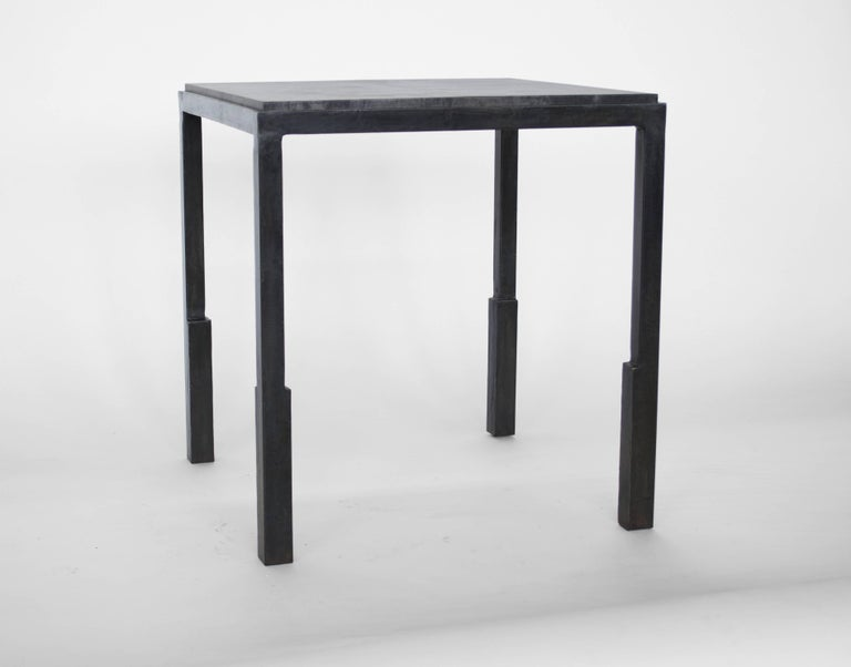 Contemporary Pair of Handmade Modern Geometric Blackened Steel and Parchment Side/End Table  For Sale