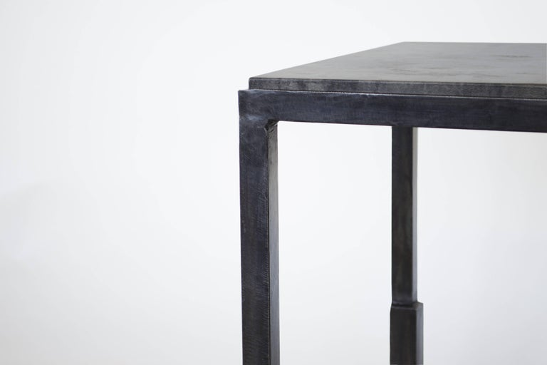 Pair of Handmade Modern Geometric Blackened Steel and Parchment Side/End Table  For Sale 1