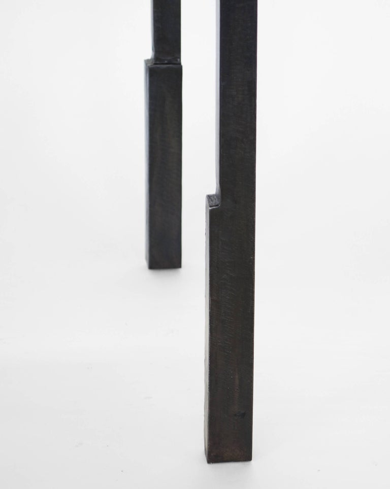 Pair of Handmade Modern Geometric Blackened Steel and Parchment Side/End Table  For Sale 2