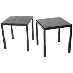 Pair of Handmade Modern Geometric Blackened Steel and Parchment Side/End Table
