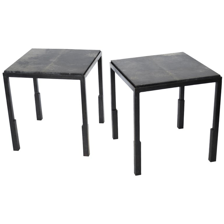 Pair of Handmade Modern Geometric Blackened Steel and Parchment Side/End Table  For Sale