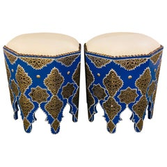 Moroccan Blue Stool or Ottoman with White Leather Top, a Pair
