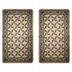 Pair of Handmade Needlepoint Rugs Symmetrical Traditional Design Carpet