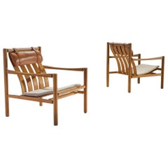 Pair of Handmade Oak Lounge Chairs by Jørgen Nilsson, Denmark, 1964