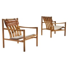 Pair of Handmade Oak Lounge Chairs by Jørgen Nilsson, Denmark, 1964