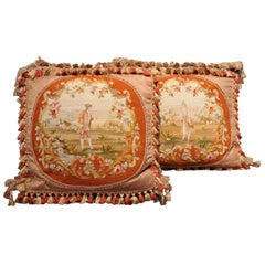 Pair of Handmade Pillows Made with 19th Century Needlepoint Tapestry and Trim