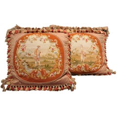 Pair of Handmade Pillows Made with Antique Needlepoint Tapestry
