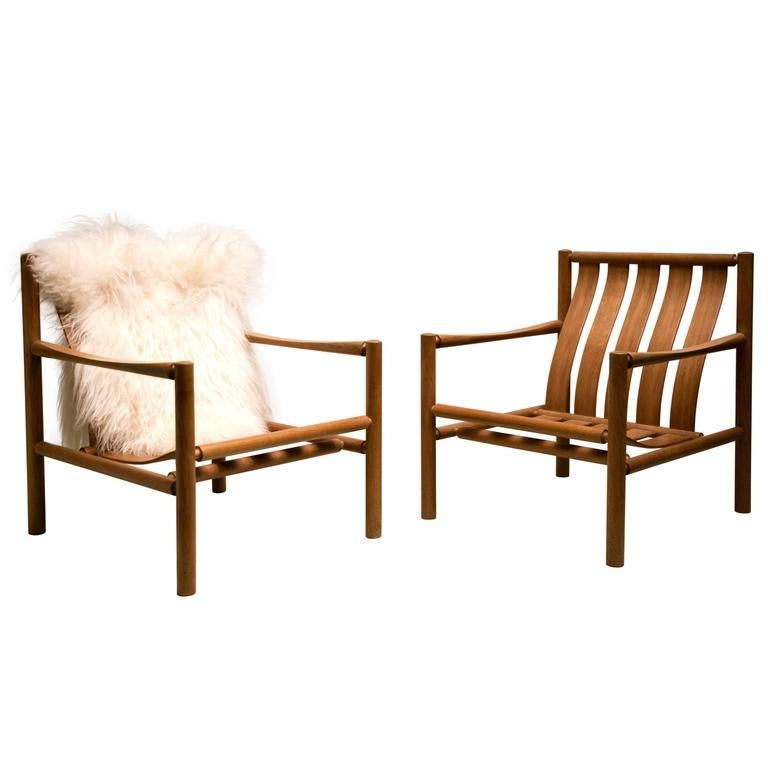 Danish Pair of Handmade Slatted Oak Lounge Chairs by Jørgen Nilsson For Sale
