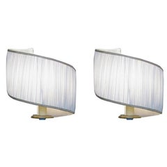 Pair of Handmade Spiral Circular Twist White Lampshades from Italy