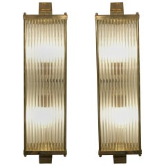 Handmade Venetian Art Deco Style Wall Lights in Brass & Tubular Glass Rod, Pair