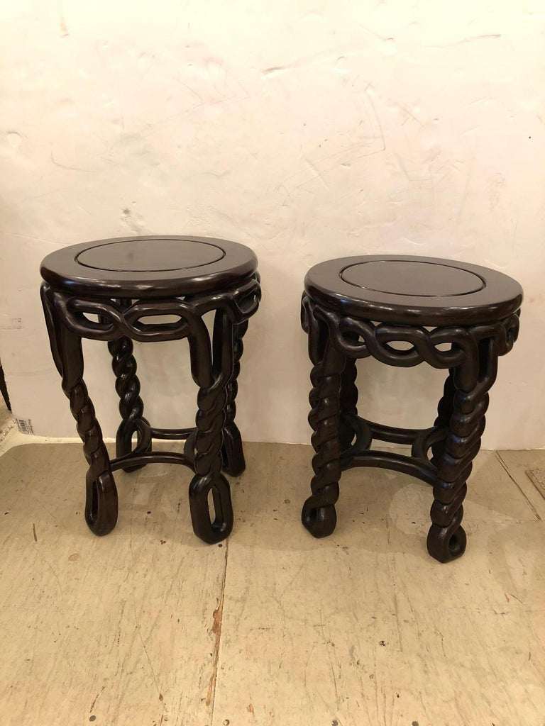 Pair of Handsome Exotic Wood End Tables or Side Accent Tables In Excellent Condition For Sale In Hopewell, NJ