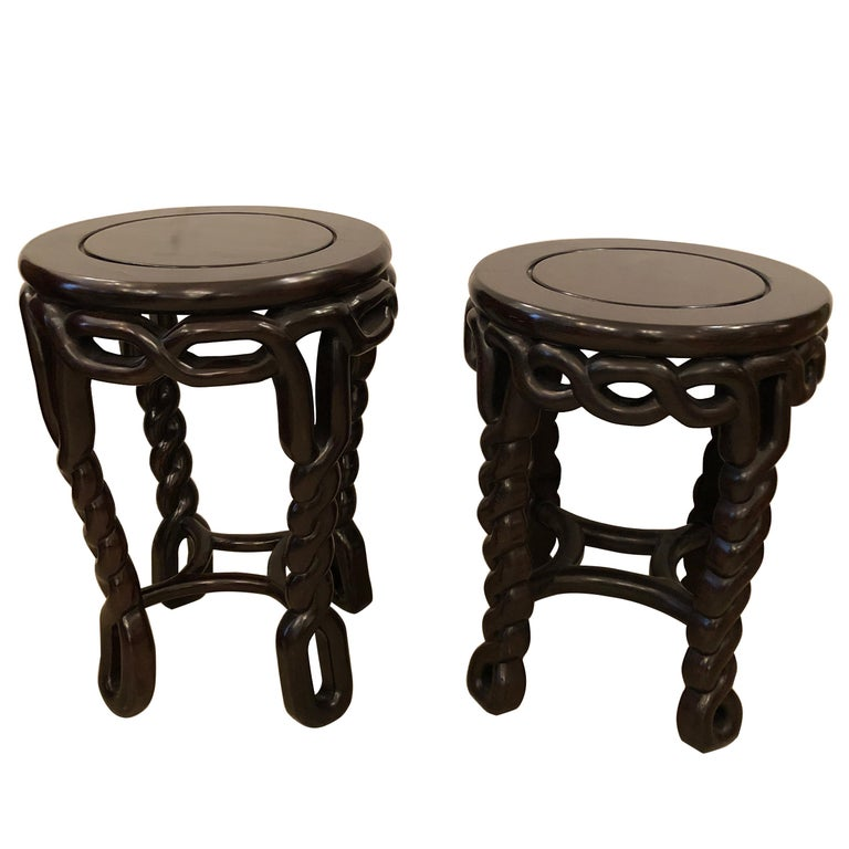 Pair of Handsome Exotic Wood End Tables or Side Accent Tables For Sale