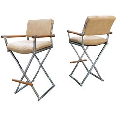 Pair of Handsome Milo Baughman Style Chrome Directors Chair Bar Stools