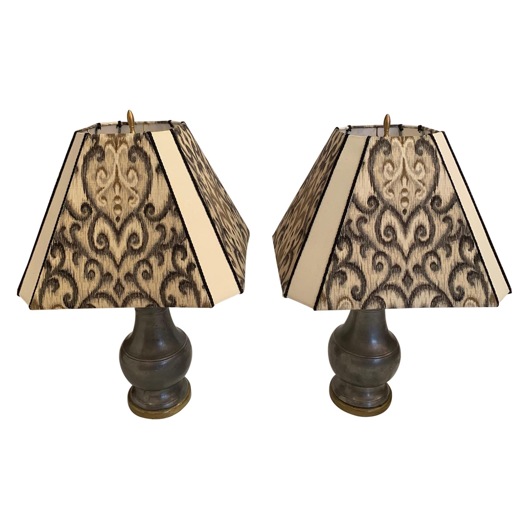 Pair of Handsome Pewter and Brass Table Lamps with Custom Shades