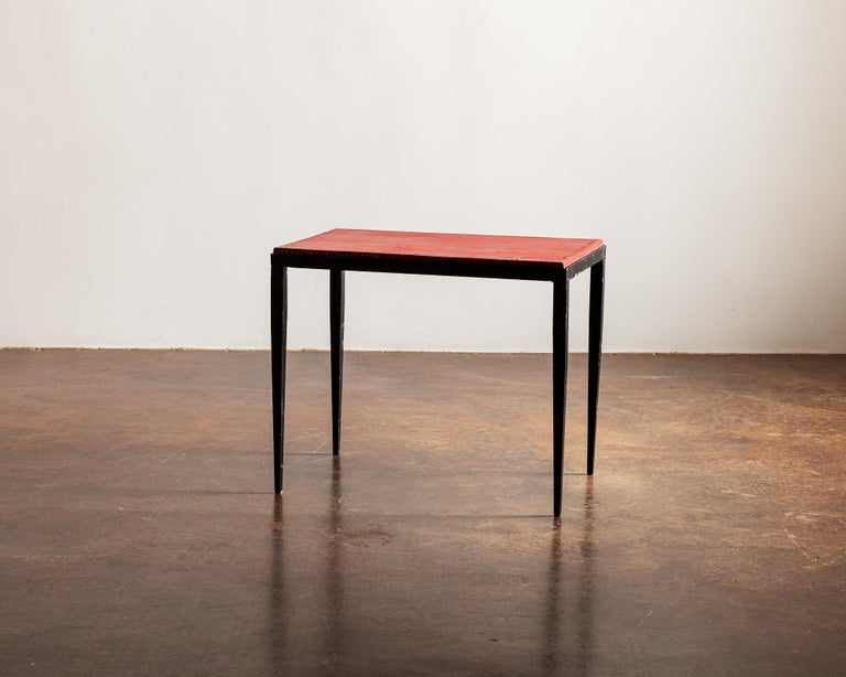 Mid-Century Modern Pair of Handsome Side Tables in the Style of Jean-Michel Frank, France, 1940s For Sale