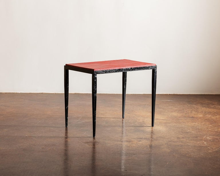 French Pair of Handsome Side Tables in the Style of Jean-Michel Frank, France, 1940s For Sale
