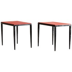 Pair of Handsome Side Tables in the Style of Jean-Michel Frank, France, 1940s
