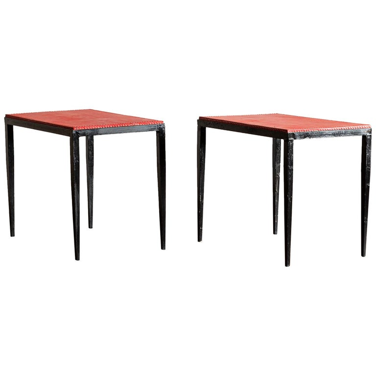 Pair of Handsome Side Tables in the Style of Jean-Michel Frank, France, 1940s For Sale