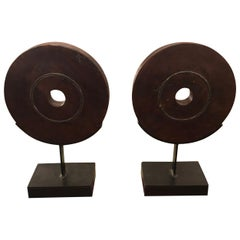 Pair of Handsome Striking Carved Wood Circle Motife Sculptures