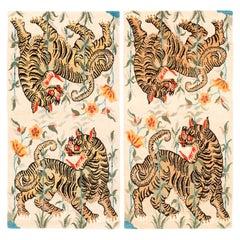 Pair of Handwoven Tan, Orange and Black Tibetan Wool Tiger Area Rugs