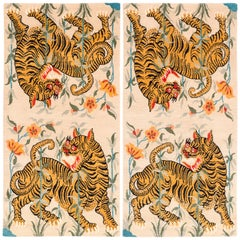 Pair of Handwoven Tibetan Wool Tiger Area Rug by Carini