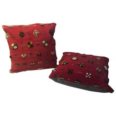 Pair of Handwoven Tribal Wool Vintage Kilim Cranberry Color Cushions or Pillows