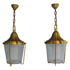 "Pair of Hanging Bronze and ""craquelé"" Glass Lanterns by Jean Perzel"