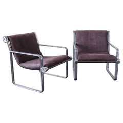 Pair of Hannah and Morrison Aluminum Armchairs for Knoll, 1971, Sling Seat
