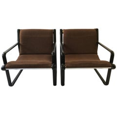 Pair of Hannah Morrison for Knoll Sling Armchairs in Brown, 1973