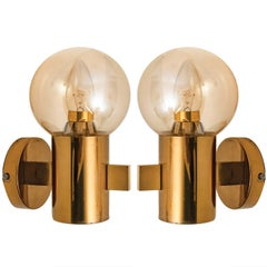 Pair of Hans-Agne Jakobsson Brass and Glass Wall Lights, circa 1960